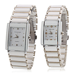 Pair of Alloy Analog Quartz Couple's Wrist Watch (White)