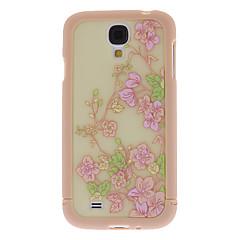 Exquisite Flower Pattern 3 em 1 pára-choques e Case Voltar para Samsung i9500 Galaxy S4