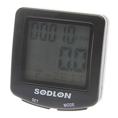 "1.5"" LCD Wired Noctilucent Bicycle Computer / Speedometer - Black"