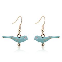 Korean Lovely Enamel Blue Birds Earrings