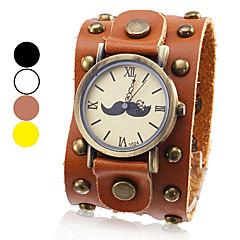unisex quadrante di orologio analogico al quarzo baffi modello larga fascia di cuoio al polso (colori assortiti)
