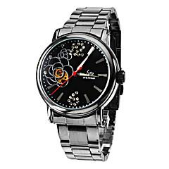 Frauen Blumenmuster Black Dial-analoge Auto-Mechanische Armbanduhr (schwarz Band)