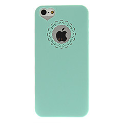 Mint Green PC Hard Case with Engraving Flower and Heart Shaped Hole Site for iPhone 5/5S