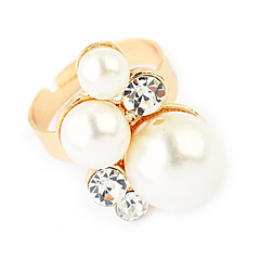 Gold Plated Alloy Pearl Ring