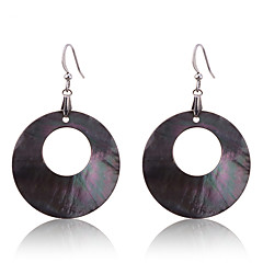 European Style Fashion Black Natural Shell Round Pearl Earrings