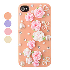 DIY Carpet of Flowers Plastic Back Case for iPhone 4/4S(Assorted Color)