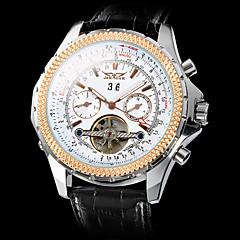 Masculino Relógio de Pulso relógio mecânico Automático - da corda automáticamente Gravação Oca Couro Banda Luxuoso Preta Prata Dourado