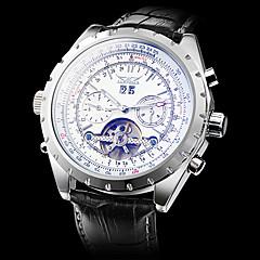 Męskie Zegarek na nadgarstek zegarek mechaniczny Nakręcanie automatyczne Grawerowane Skóra Pasmo Ekskluzywne Czarny White Black