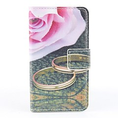 Pink Rose Pattern PU Full Body Case with Card Slot and PC Back Cover insight for iPhone 4/4S