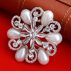 kvinders rund blomst perle broche