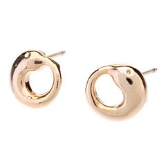 Rose Gold Dolphin Circle Stud Earrings