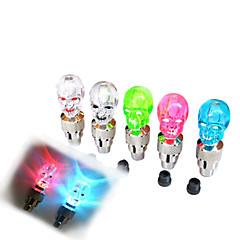 두개골 스타일 번쩍이는 오토바이 나 자동차 타이어 공기 밸브 씰링 캡 (무작위 색깔, 2 PCS)를 LED