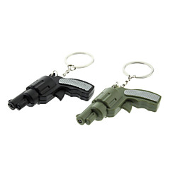 מחזיק מפתחות בצורת אקדח ABS עם LED וקול (צבע אקראי)