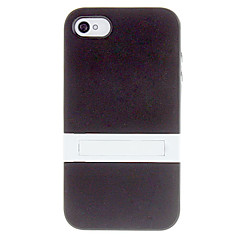Solid Color Protective TPU Case with White Stand for iPhone 4/4S (Assorted Colors)