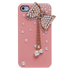 Pearl Bowknot Pendant Jewelry Covered Back Case for iPhone 4/4S