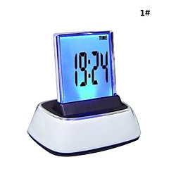 7-Color Change LED Digital LCD alarmklok thermometer