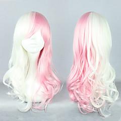 Dangan Ronpa Monomi Pink and White Mixed Cosplay Curly Wig