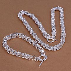 Fashion Silver Plated (Necklace & Bracelet) Jewelry Set (Silver)