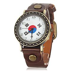 Unisex Vintage Korean Flag Pattern Dial Pu Band Quartz Analog Wrist Watch (Assorted Colors)
