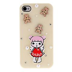 Sarjakuva tyyli Little Girl ja puiset Bear ja Helmet Katettu Hard Case Liima iPhone 4/4S