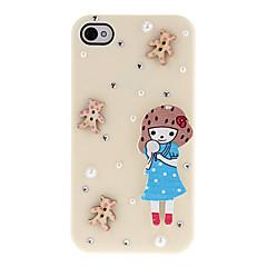 Sarjakuva tyyli puinen Tyttö ja Pikku Diamonds Katettu Hard Case for iPhone 4/4S