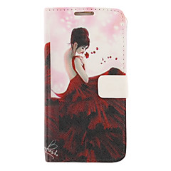 Maxiskit Girl Drawing Pattern Faux Leather Hard Plastic Cover Pouches for Samsung Galaxy Note2 N7100