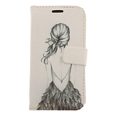 Back Shadow of Girl Drawing Pattern Faux Leather Hard Plastic Cover Pouches for Samsung Galaxy S3 I9300