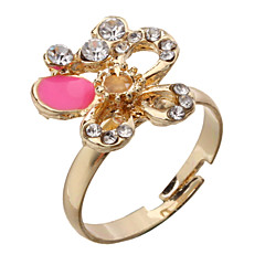 Women's Butterfly Flower Golden Plated Adjustable Ring(Random Color)