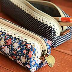 Polka Dot Flower Pattern Pen Case (Random Color)