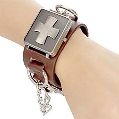 Unisex Punk Style Cross-Abdeckung Brown Lederband Quarz Analog Armbanduhr