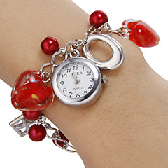 Women's White Dial Red Heart Pattern Beads Band Quartz Analog Bracelet Watch