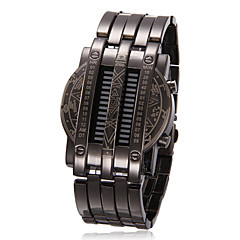 Unisex blu LED Digital Black Steel orologio da polso
