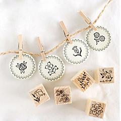 12st DIY trä Flower Style Stamp Set
