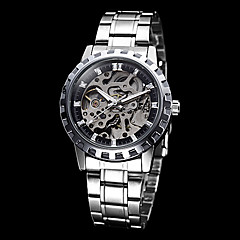 Herren Skeleton runden Zifferblatt Steel Band Auto-Mechainical Armbanduhr