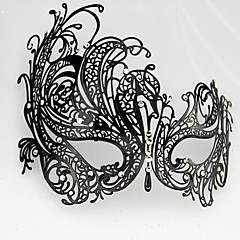 Punk Style Black Metal Hollow Carnival Masquerade Mask with Gemstone