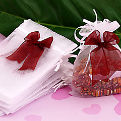 50pc 12x10cm White Organza Wedding Gift Bag Drawtring Pouche