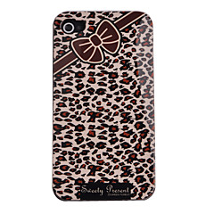 Joyland Leopard Grain and Bowknot Pattern ABS Back Case with Dustproof Plug for iPhone 4/4S