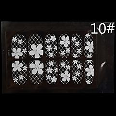 12PCS White Lace Transparent with Rhinestone Glitter Wedding Nail Stickers Flower Lattice