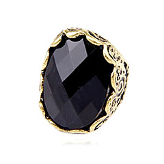 Vintage Black Gothic Treasure Carved Stone Surface Metal Exaggerated Fashion Rings