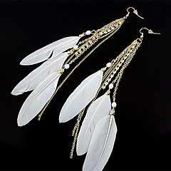 Sweet Style Feather Rhinestone Drop Earrings(Assorted Color)