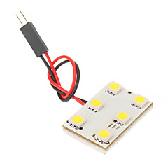 BA9S T10 Festoen 1W 6x5050SMD 6000K Cool White Light LED lamp voor in de auto (12V)