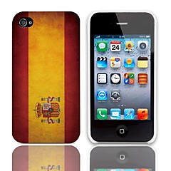 Vintage Patriotic The Spanish Flag Pattern Hard Case with 3-Pack Screen Protectors for iPhone 4/4S