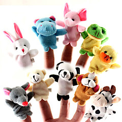 10 Pieces Animal Plush Finger Puppets Set Baby Plush Toys Cartoon Kids Education Toys