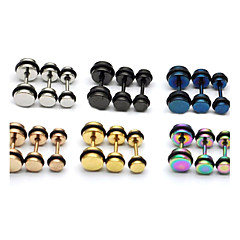 Fashion (Round Shape) Multicolor Titanium Steel Stud Earrings(Silver,Black,Blue,Gold,Rose,Multicolor) (1 Pc)