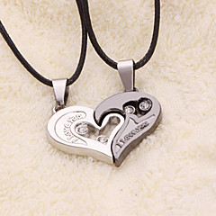 weet (Heart Pendant) Black Leather Pendant Necklace(2 Pc)   Jewelry