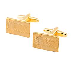 luxuoso ouro ouro quadrado abotoaduras banhados (1par)