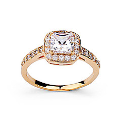 weet Women's Tranparent Cubic Zirconia Ring (Gold) (1 Pc)