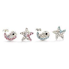 Sweet Assorted Color Alloy&Rhinestone Stud Earrings(Pink,Blue)(1 Pair)