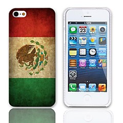 Vintage The Mexican Flag Pattern Hard Case with 3-Pack Screen Protectors for iPhone 5/5S
