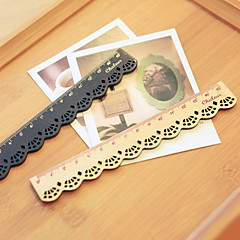 Lace Design Wooden Ruler(Beige)
